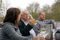 Mr. MERVA, SIBOS veteran Horst Dimde enjoys his beer.
